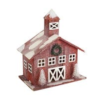 Set of 2 Snow Covered Red Christmas Table Top Barns