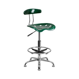 Offex Vibrant Green and Chrome Drafting Stool with Tractor Seat [OF-LF-215-GREEN-GG]