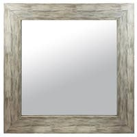 Hanging Framed Wall Mounted Mirror, Distressed Wood Finish Gray White, Made in USA - 30X30