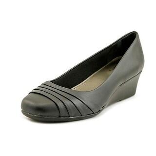 Life Stride Gains Women Open Toe Leather Black Wedge Heel
