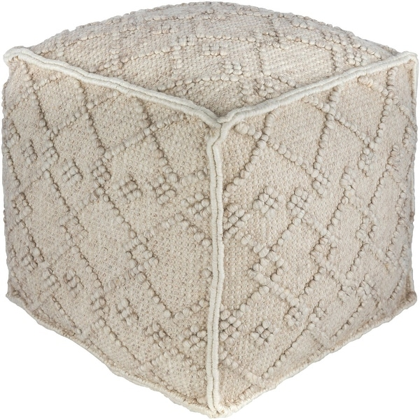 "18"" Beige and Ivory Pouf Ottoman with Piping Edge - N/A"