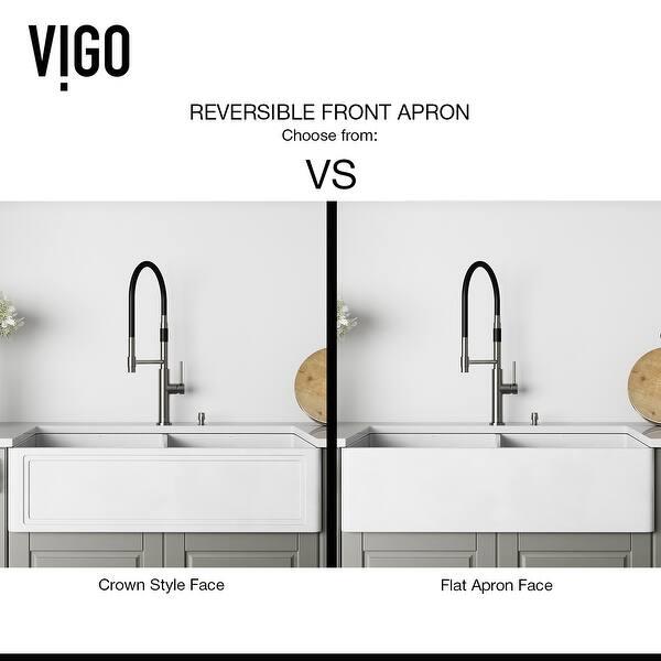 Vigo White 33 Inch Matte Stone Double Bowl Farmhouse Kitchen Sink Overstock 16049352 18 L X 33 W X 9 63 H