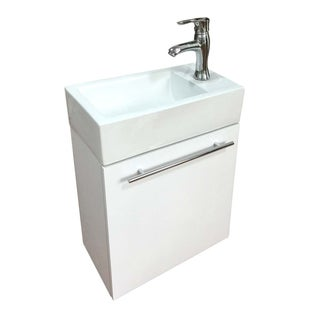 Bathroom Sink White Vanity with Towel Bar, Faucet and Drain Wall Mount Storage