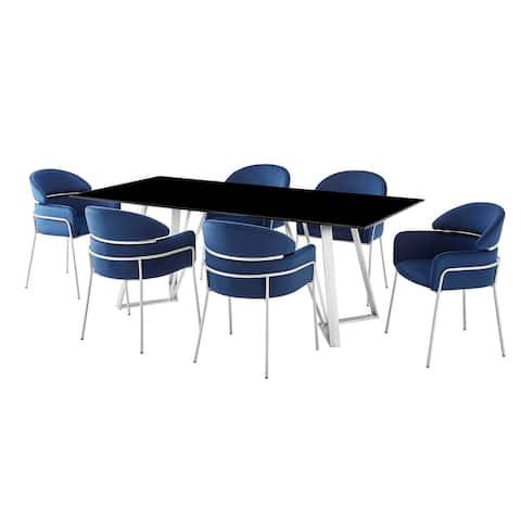 Cressida and Portia Blue Fabric 7 Piece Rectangular Dining Set