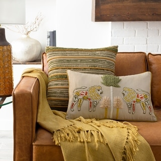 Link to The Curated Nomad Embroidered Lion Lumbar Throw Pillow Similar Items in Decorative Accessories