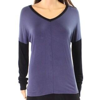 DKNY NEW Gray Black Women's Size XL V-Neck Colorblocked Knit Top