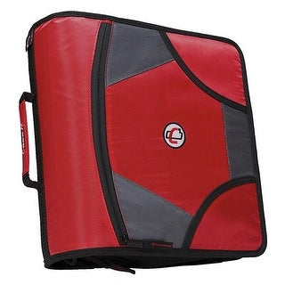 Zipper Binder with 5 Tab Files, D-Ring, 4 in. - Red