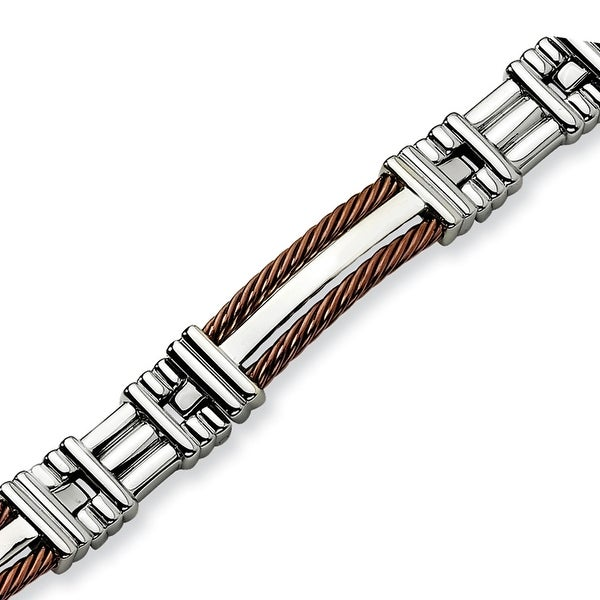 Chisel Stainless Steel and Brown Color IP-plated Bracelet