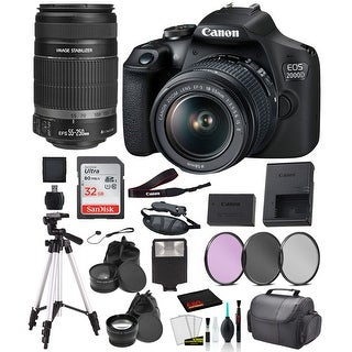 Canon EOS 2000D (REBEL T7) Digital SLR Camera 18-55MM IS ii and EF-S 55-250mm Le