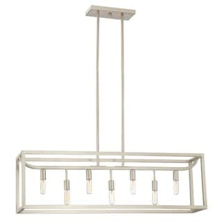 """Designers Fountain 88438 Uptown 7 Light 36"""" Wide Single Tier Linear Chandelier with Exposed Lamping"""