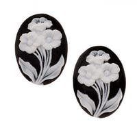 Vintage Style Lucite Oval Cameo Black With 3 White Flowers 25x18mm (2 Pieces)
