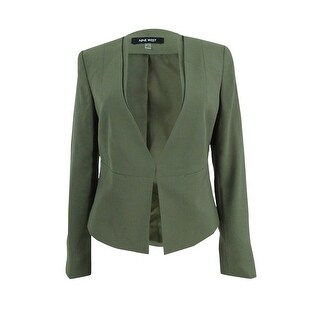 Nine West Women's Crepe Kiss-Front Blazer - Loden