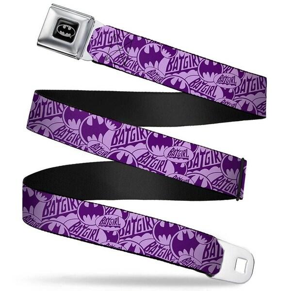 Batman Full Color Black Silver Black Batgirl Logo Bat Signal Stacked Seatbelt Belt