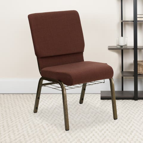 """18.5""""W Church Chair with Cup Book Rack - Gold Vein Frame"""