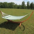 Sunnydaze Wooden Curved Arc Hammock & Hammock Stand, 12 Feet Long, 400 Pound Capacity - Thumbnail 5