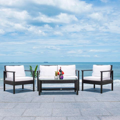 Safavieh Outdoor Garnen 4-Piece Wicker Living Set