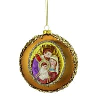 """4"""" Joseph, Mary and Baby Jesus Sequin Religious Glass Disc Christmas Ornament"""