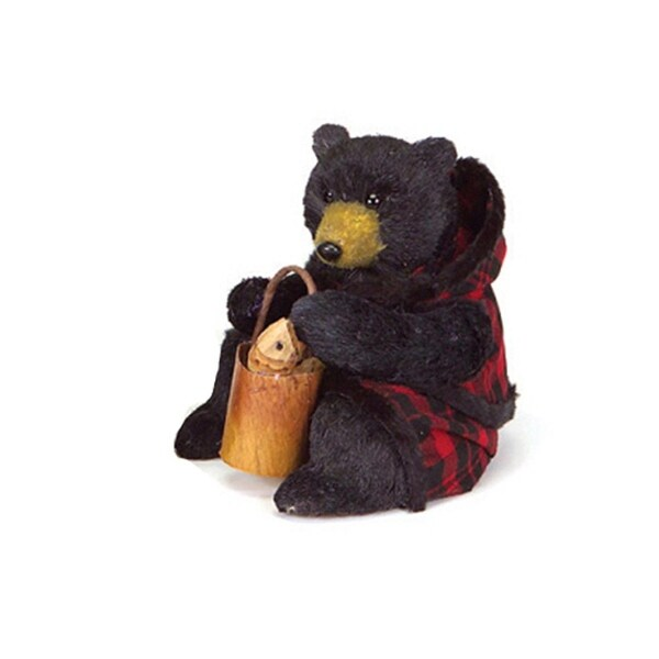 "8"" Rustic Lodge Sitting Black Bear Christmas Figure in Red Plaid (Flaws)"