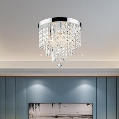 """CO-Z 11"""" 5-light Flush Mount Crystal Chandelier Ceiling Light - Chrome"""