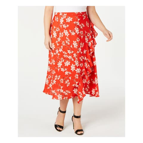 CALVIN KLEIN Womens Red Floral Tea-Length Pleated Skirt Size 20W
