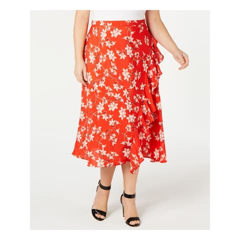 CALVIN KLEIN Womens Red Floral Tea-Length Pleated Skirt Size 24W