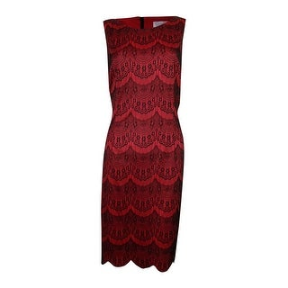 Jessica Simpson Women's Sleeveless Bonded Lace Sheath Dress - Beet Red