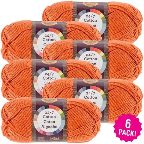 Lion Brand 24/7 Cotton Yarn - 6/Pk-Tangerine - Orange