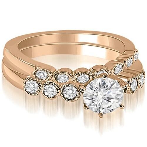 0.91 cttw. 14K Rose Gold Vintage Milgrain Round Cut Diamond Bridal Set