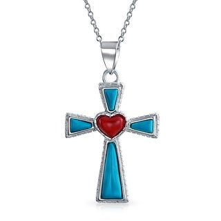 Reconstituted Turquoise Heart Cross Pendant .925 Sterling Silver Necklace 18 Inch