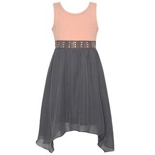 Girls Blush Gray Angled Hem Ribbon Back Accent Christmas Dress
