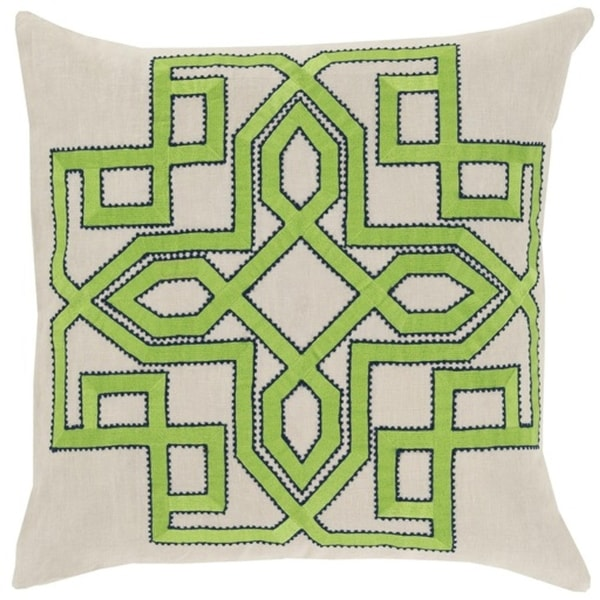 "20"" Lavish Labyrinth Lime Green, Navy Blue and Cream Decorative Square Throw Pillow - Down Filler"