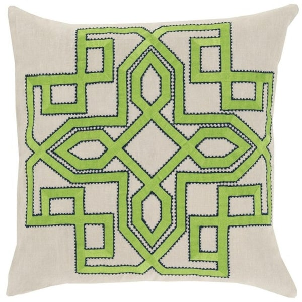 "20"" Lavish Labyrinth Lime Green, Navy Blue and Cream Decorative Square Throw Pillow - Polyester Filler"