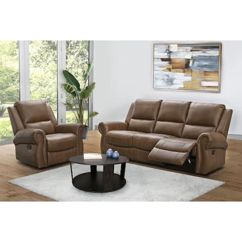 Abbyson Skyler Cognac 2-piece Leather Reclining Living Room Set