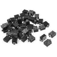 Unique Bargains 50 Pieces Black Plastic PCB Mount Stereo 3.5mm Jack Socket Connector Adapter