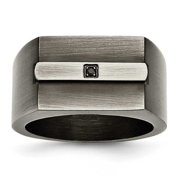 Chisel Stainless Steel Brushed with Black CZ Ring