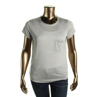 Vince Womens T-Shirt Pocket Raw Hem