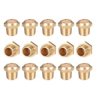 """Brass Exhaust Muffler, 1/8"""" G Male Thread Bronze Muffler w Brass Body Flat 15pcs - 1/8"""" G 15pcs"""