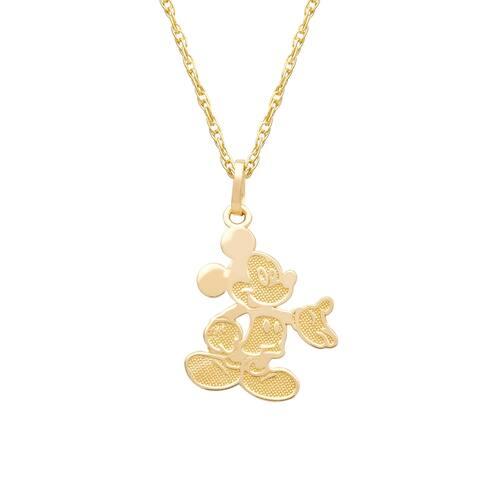 "Disney 14KT Gold Mickey Pendant Necklace 15"""