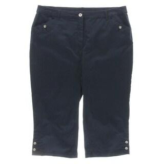 Karen Scott Womens Plus Capri Pants Twill Cropped
