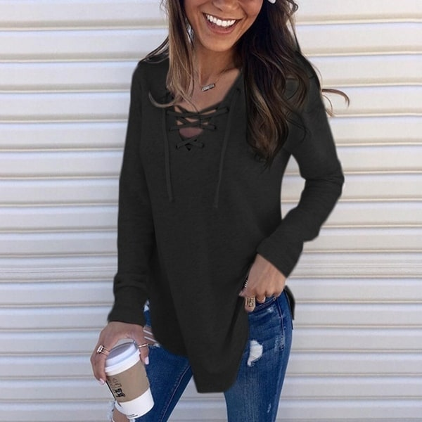 Lace Up Sweater, Multiple Colors. Opens flyout.