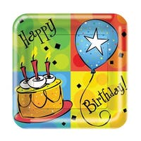 "Club Pack of 96 Cake Celebration Disposable Paper Party Lunch Plates 7"" - Multi"