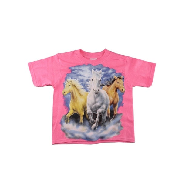 dce740973 Shop Girls Pink Three Horse Graphic Print Short Sleeve Cotton T-Shirt -  Free Shipping On Orders Over $45 - Overstock - 28299774