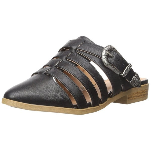 Qupid Womens tuxedo77 Pointed Toe Casual Slide Sandals - 6