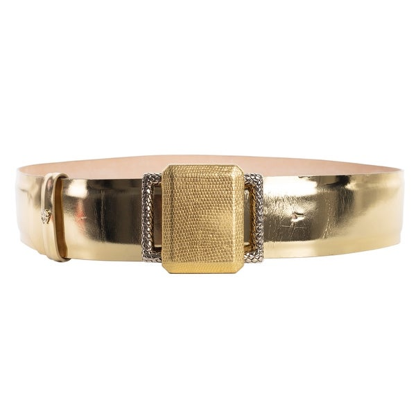 Roberto Cavalli Womens Metallic Gold Wide Waist Belt