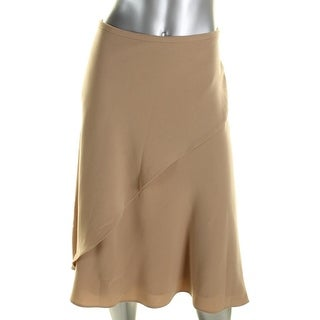 Lauren Ralph Lauren Womens Tiered Skirt Asymmetric Mid-Calf Beige 12