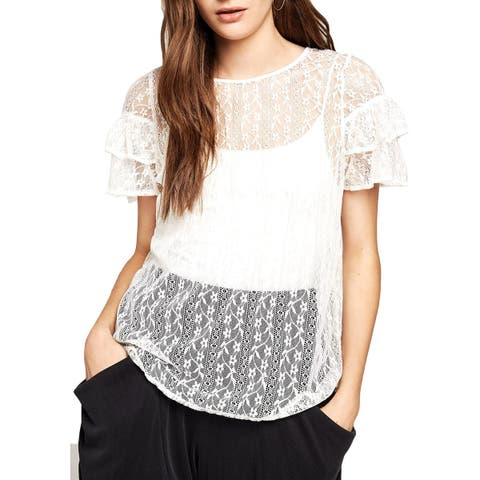 BCBGeneration Womens Blouse Lace Sheer