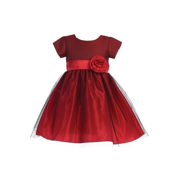 36af44151 Shop Lito Girls Red Jacquard Crystal Tulle Short Sleeve Christmas Dress - Free  Shipping Today - Overstock - 23540669