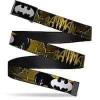 Batman Reverse Brushed Silver Cam Batman W Bat Signals & Flying Bats Web Belt