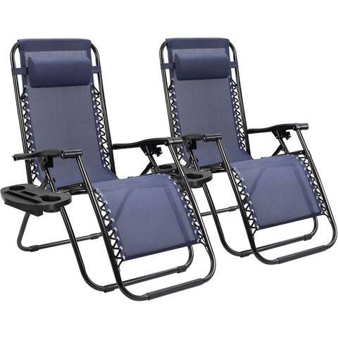 Set of 2 Zero Gravity Chair Patio Folding Lawn Lounge Chairs Outdoor Lounge Gravity Chair Camp Reclining Lounge Chair