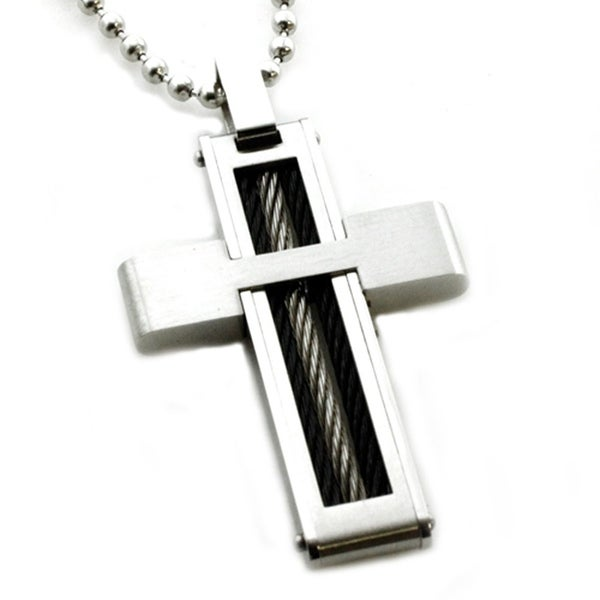 Stainless Steel Cross Pendant w/ Cable Inlay - 24 inches